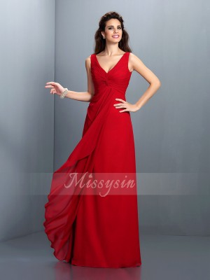 A-Line/Princess Sleeveless Straps Pleats Floor-Length Chiffon Dresses