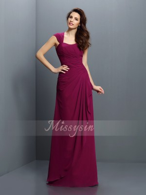 A-Line/Princess Sleeveless Straps Pleats Floor-Length Chiffon Bridesmaid Dresses