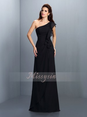 Sheath/Column Sleeveless One-Shoulder Pleats Floor-Length Chiffon Bridesmaid Dresses