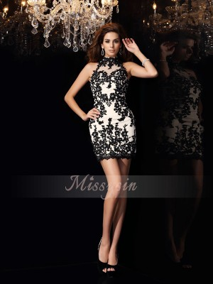 Sheath/Column Sleeveless High Neck Beading,Applique Short/Mini Chiffon Dresses