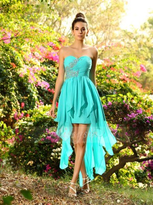 A-Line/Princess Sleeveless Sweetheart Beading Asymmetrical Chiffon Bridesmaid Dresses