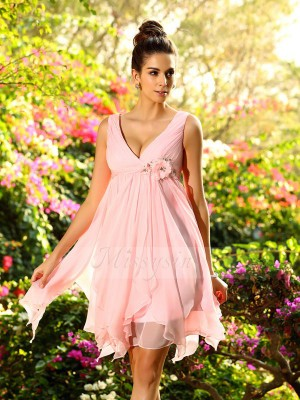 A-Line/Princess Sleeveless V-neck Ruffles Knee-Length Chiffon Bridesmaid Dresses