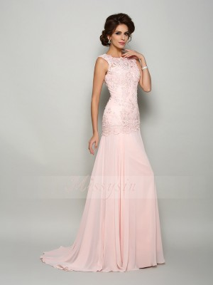 Trumpet/Mermaid Sleeveless Scoop Beading,Applique Sweep/Brush Train Chiffon Mother Of The Bride Dresses