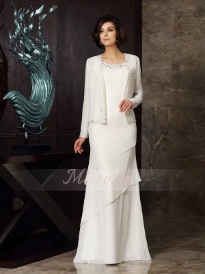Sheath/Column Sleeveless Scoop Beading Floor-Length Chiffon Mother Of The Bride Dresses
