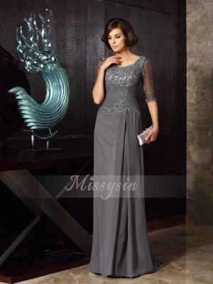 A-Line/Princess 1/2 Sleeves Scoop Beading,Applique Sweep/Brush Train Chiffon Mother Of The Bride Dresses