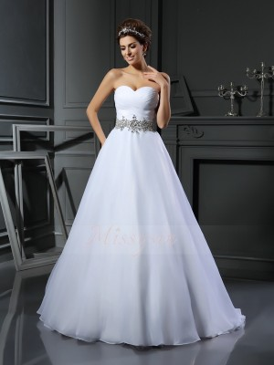 Ball Gown Sleeveless Satin Sweetheart Beading Court Train Wedding Dresses