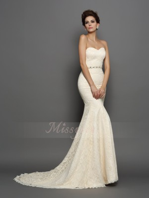 Trumpet/Mermaid Sleeveless Satin Sweetheart Bowknot Chapel Train Wedding Dresses