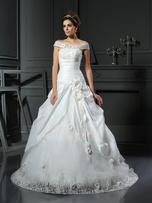 Ball Gown Sleeveless Satin Off-the-Shoulder Hand-Made Flower Chapel Train Wedding Dresses