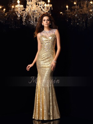 Trumpet/Mermaid Sleeveless Sequins High Neck Floor-Length Dresses