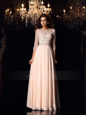 A-Line/Princess 3/4 Sleeves Chiffon Scoop Beading Floor-Length Dresses