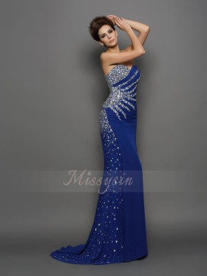 Trumpet/Mermaid Sleeveless Chiffon Sweetheart Rhinestone Court Train Dresses