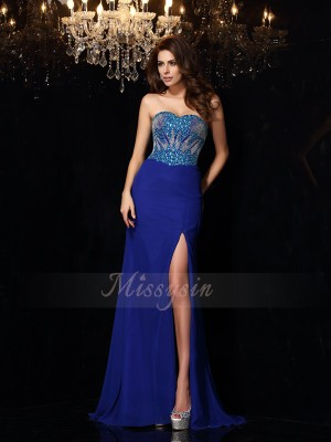 Sheath/Column Sleeveless Chiffon Sweetheart Beading Sweep/Brush Train Dresses