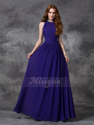 A-line/Princess Sleeveless Jewel Ruched Floor-length Chiffon Bridesmaid Dresses