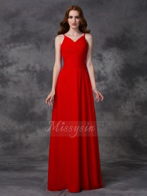 A-line/Princess Sleeveless Spaghetti Straps Ruffles Floor-length Chiffon Bridesmaid Dresses