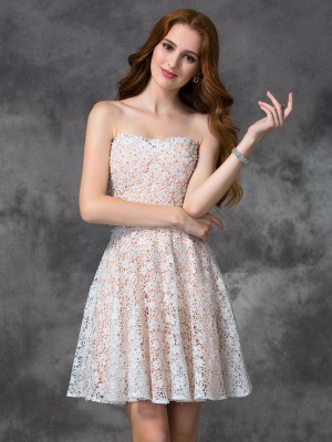 A-line/Princess Sleeveless Sweetheart Short/Mini Lace Cocktail Dresses