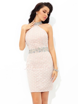 Sheath/Column Sleeveless Halter Beading Short/Mini Satin Cocktail Dresses