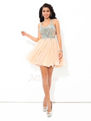 A-Line/Princess Sleeveless Straps Rhinestone Short/Mini Chiffon Cocktail Dresses
