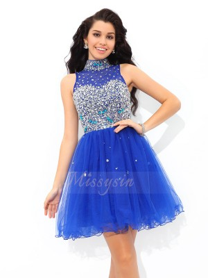 A-Line/Princess Sleeveless High Neck Beading Short/Mini Net Cocktail Dresses