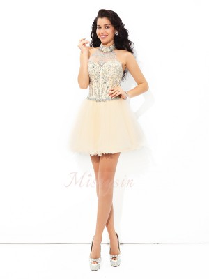 A-Line/Princess Sleeveless Halter Beading Short/Mini Satin Cocktail Dresses