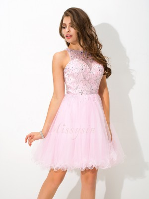 A-Line/Princess Sleeveless Sheer Neck Beading Short/Mini Net Cocktail Dresses