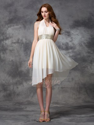 A-line/Princess Sleeveless Halter Sequin Asymmetrical Chiffon Cocktail Dresses