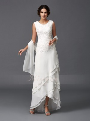 A-Line/Princess Sleeveless Scoop Asymmetrical Chiffon Mother of the Bride Dresses