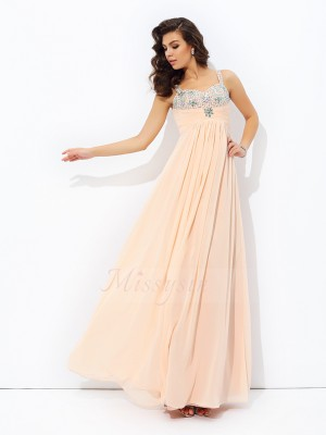 A-line/Princess Sleeveless Spaghetti Straps Beading Floor-Length Chiffon Dresses