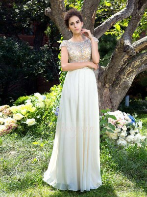 A-Line/Princess Short Sleeves Sheer Neck Rhinestone Sweep/Brush Train Chiffon Dresses