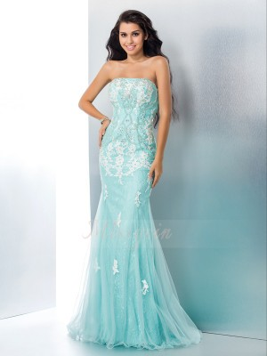 Trumpet/Mermaid Sleeveless Strapless Applique Floor-Length Lace Dresses