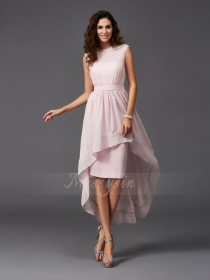 A-Line/Princess Sleeveless Scoop Sash/Ribbon/Belt Asymmetrical Chiffon Bridesmaid Dresses