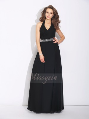 A-Line/Princess Sleeveless Halter Beading Floor-Length Chiffon Bridesmaid Dresses