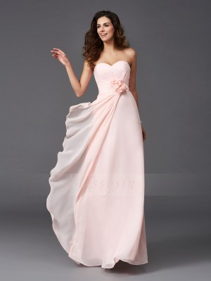 A-Line/Princess Sleeveless Sweetheart Hand-Made Flower Floor-Length Chiffon Bridesmaid Dresses