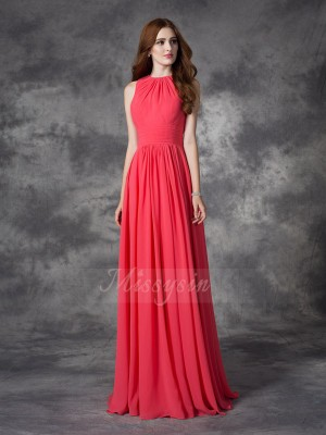A-line/Princess Sleeveless Jewel Ruffles Floor-length Chiffon Bridesmaid Dresses