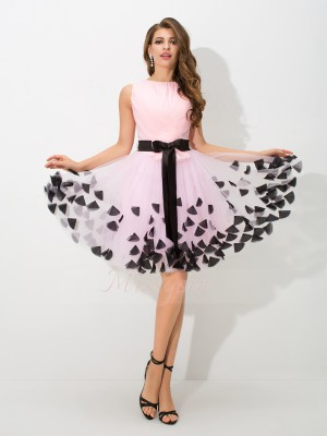 A-Line/Princess Sleeveless High Neck Bowknot Short/Mini Net Cocktail Dresses