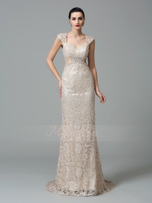Sheath/Column Sleeveless Straps Other Sweep/Brush Train Lace Dresses
