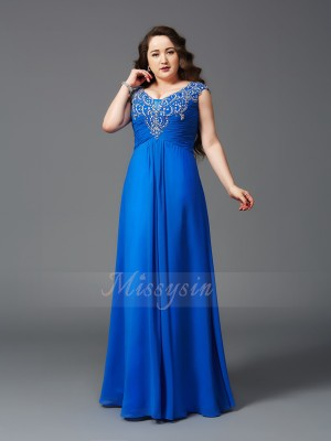 A-Line/Princess Short Sleeves Straps Beading Floor-Length Chiffon Plus Size Dresses