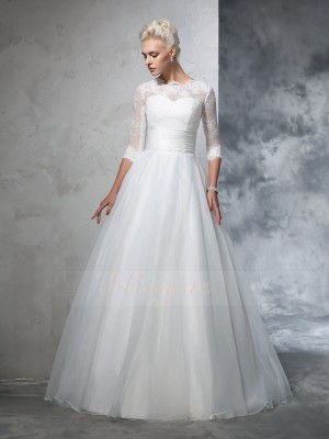 Ball Gown 3/4 Sleeves Jewel Applique Floor-Length Organza Wedding Dresses
