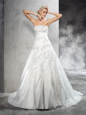 Ball Gown Sleeveless Strapless Beading Court Train Satin Wedding Dresses