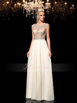 A-Line/Princess Sheer Neck Floor-Length Rhinestone Sleeveless Chiffon Dresses