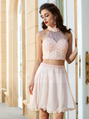 A-Line/Princess Halter Short/Mini Beading Sleeveless Chiffon Two Piece Dresses