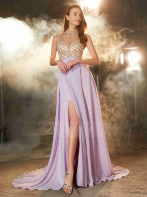 A-Line/Princess Sweep/Brush Train High Neck Crystal Sleeveless Chiffon Dresses