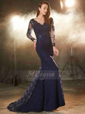 Trumpet/Mermaid Sweep/Brush Train V-neck Applique Sleeveless Lace Dresses