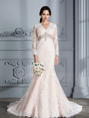 Trumpet/Mermaid Long Sleeves Organza Sweep/Brush Train V-neck Wedding Dresses 71011