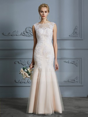 Trumpet/Mermaid Sleeveless Tulle Floor-Length Scoop Wedding Dresses 71036