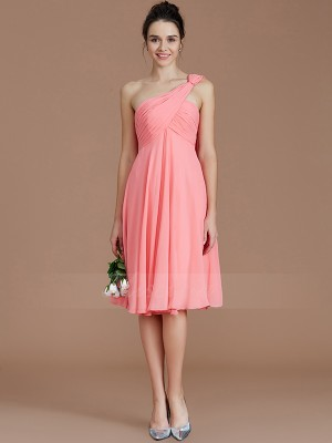 A-Line/Princess Short/Mini One-Shoulder Sleeveless Ruched Chiffon Bridesmaid Dresses