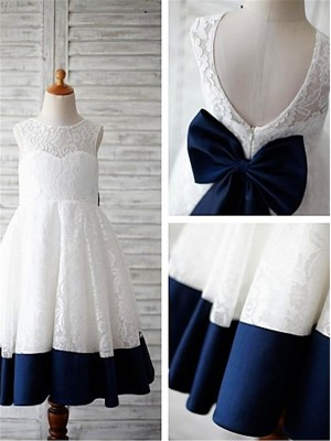 A-line/Princess Sleeveless Lace Scoop Tea-Length Bowknot Flower Girl Dresses