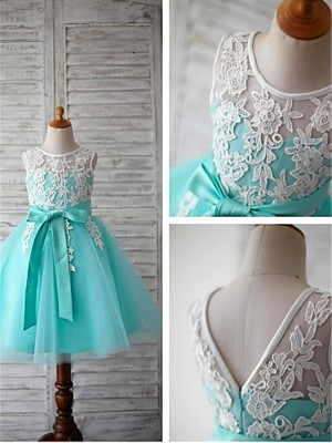Ball Gown Sleeveless Tulle Scoop Knee-Length Bowknot Flower Girl Dresses