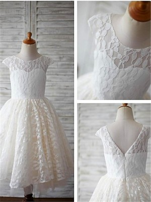 A-line/Princess Short Sleeves Lace Scoop Tea-Length Flower Girl Dresses