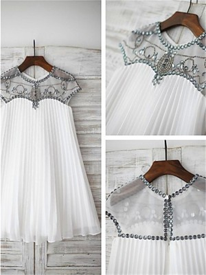 A-line/Princess Short Sleeves Chiffon Tea-Length Beading Scoop Flower Girl Dresses