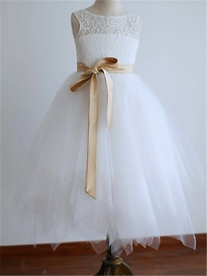 A-line/Princess Sleeveless Tulle Scoop Tea-Length Sash/Ribbon/Belt Flower Girl Dresses